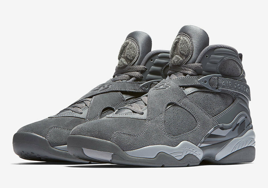 timeless design 12115 dd48d Details about Nike MEN S Air Jordan VIII 8 Retro COOL GREY SUEDE SIZE 10.5  BRAND NEW WOLF GREY
