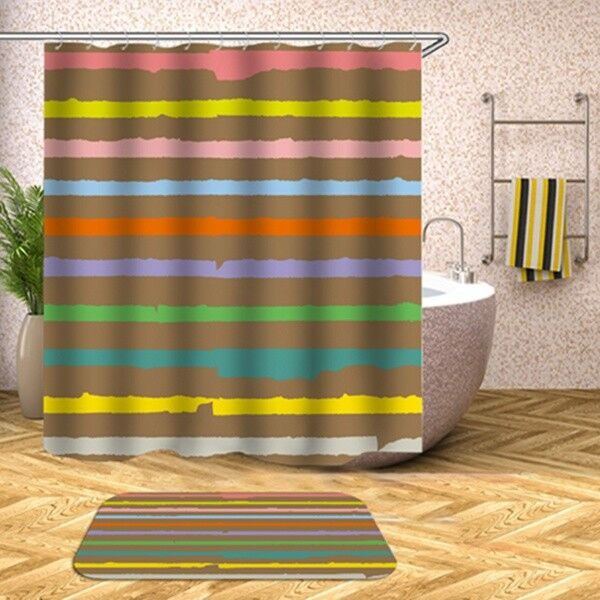 Details About USA Seller Trendy Colorful Striped Shower Curtain Waterproof Fabric W Hooks NEW