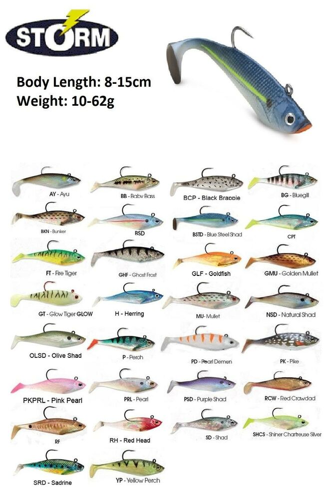 Details About Storm Wildeye Swim Shad Soft Bait Fishing Lure 8 15cm 10 62g Various Colours