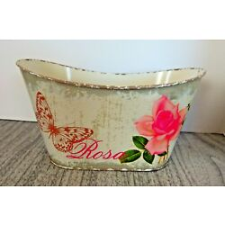Shabby Chic Metal Tin Container Decor ROSE & BUTTERFLY