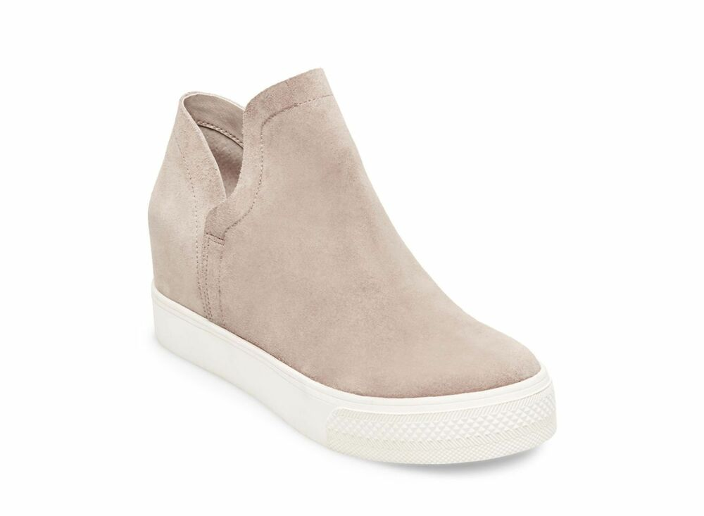 aac5565bfd3f Details about Steve Madden Women s Wrangle Wedge Sneaker Taupe Suede