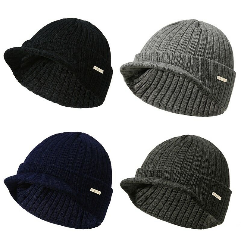 99f58e3d Men Women Winter Ski Hat Knit Warm Visor Beanie Billed Beanie with ...