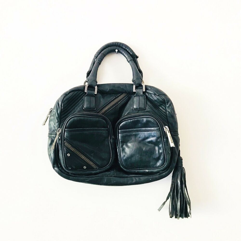 14d44f54cfe1 Details about L.A.M.B. Purse Gwen Stefani Handbag Black Leather Tassel Moto  Small Zipper Bag
