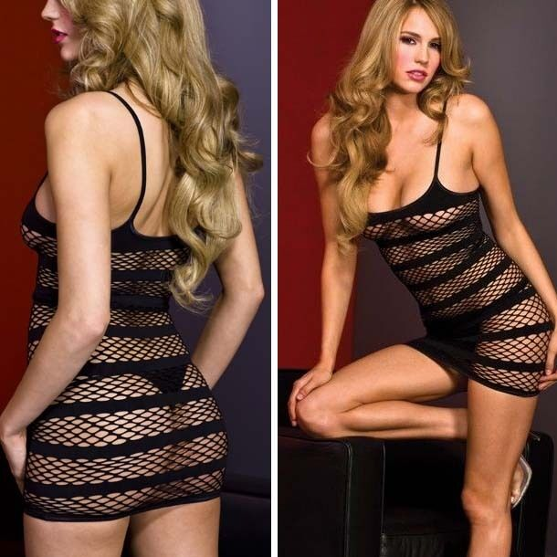8ce0c493d51 Details about Sexy Black Diamond Net Mini Dress with Opaque Stripes and  Spaghetti Straps OS US