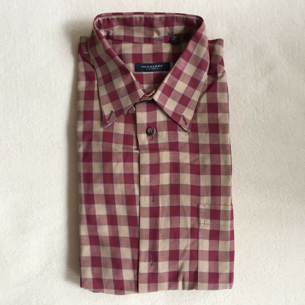 Details about Burberry London Men s Check Cotton Casual Shirt - Burgundy -  Made in USA - L 87f0351ea