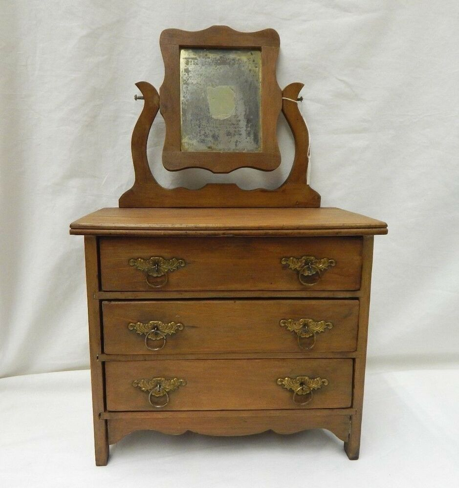 Details About Vintage Antique Wood Doll Dresser W Mirror 3 Drawers 20 Tall Oak