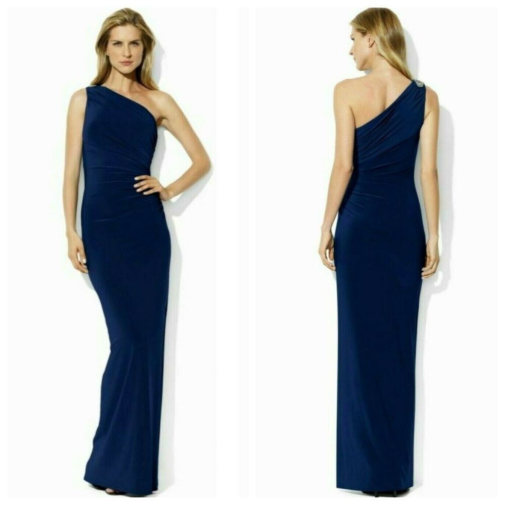 61032f4af8a5 Details about LAUREN RALPH SEXY EMBELLISHED ONE SHOULDER EVENING GOWN DRESS  Sz 8 NWT $ 260