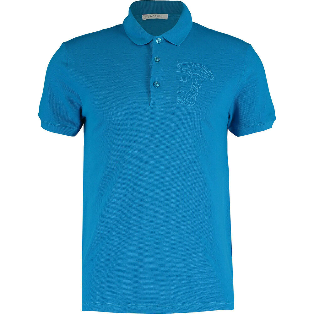 c8d4c174 Details about New Versace Collection Men's Embroidered Medusa Polo Shirt in  Aqua Blue XXL 2XL
