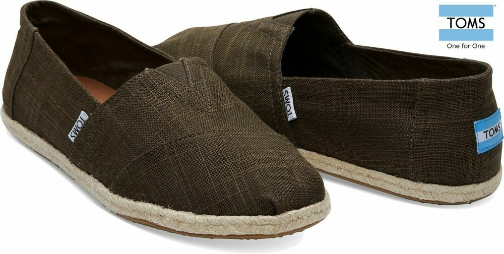 f2faae8587e Details about TOMS Mens Canvas Classics Rope Sole Slip On Espadrilles Olive  Linen Various Size