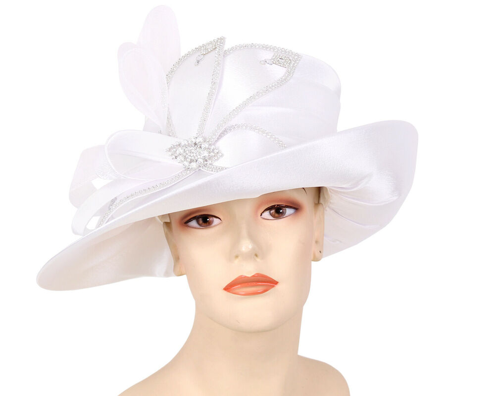 922d7231900 Details about Women s Satin Formal Church Derby Hats - Black
