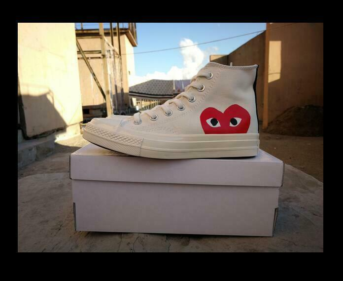0aa893e6107 COMME DES GARCONS PLAY Chuck Taylor x CONVERSE White   Black Hi free  delivery