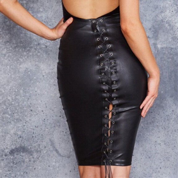 a569a44b56 Details about Bound Midi Pencil Skirt Leather Look Black High Waist Rise  Bodycon Lace Tie Up