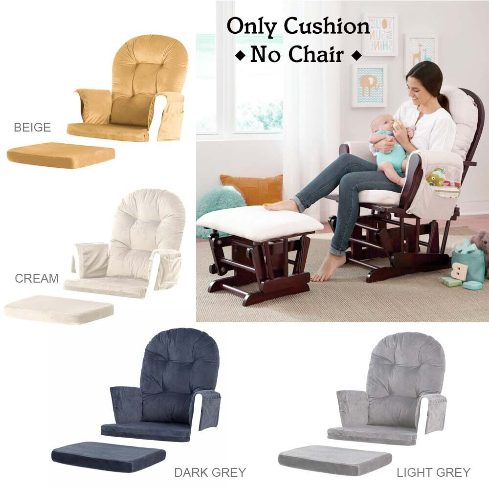 Details About Velvet Cushion For Glider Ottoman Removable Nursery Baby Mother Relax Rocker