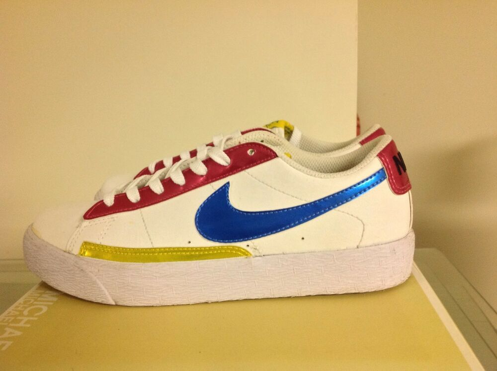 new style d71ad d7bc8 Details about Nike Blazer Low Metalic Blue Pink Yellow 5.5Y Vintage Rare  Message If Interested