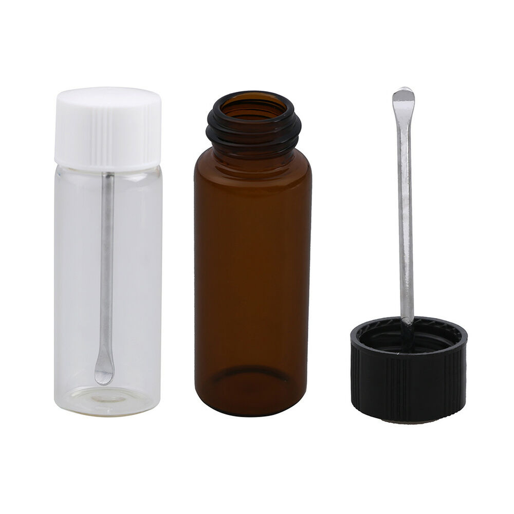 Details About Transpa Brown Small Gl Bottle With Snuff Spoon Pill Box Sniffer Ni