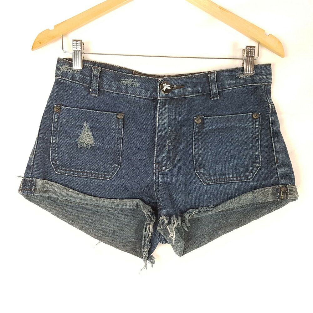 7516ee309c Details about One Teaspoon Denim Shorts Size 8/26 Blue Distressed