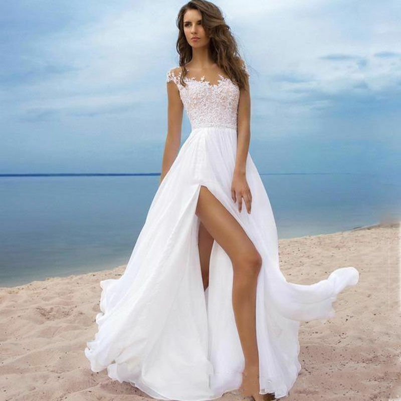 Beach Wedding Dresses Bridal Gowns White Ivory Simple Custom Plus ...
