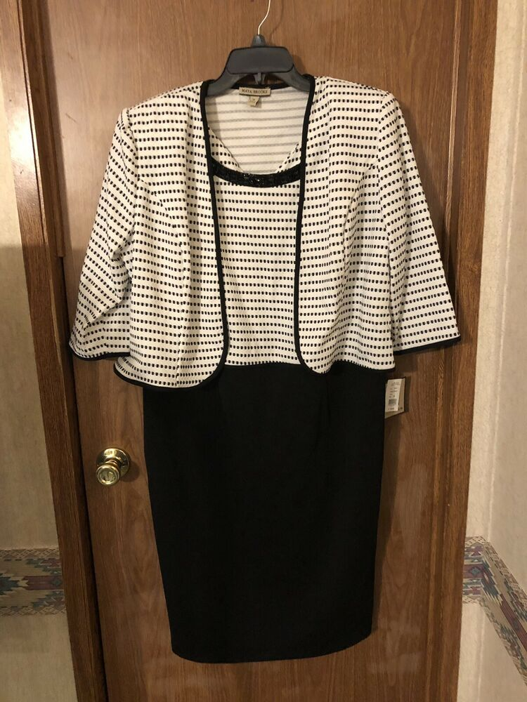ea3ed6fb Details about NWT~Maya Brooke 2-pc Beaded Striped Jacket Suit~Size  18~Blk/Wht~Retails $90.00