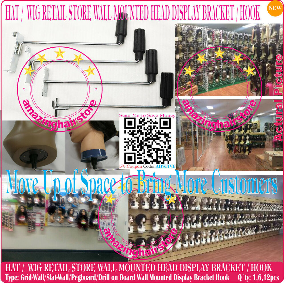 Advertising Beauty Store Head Holder Wig Display Hook Hat Retail Fixture Wall Mount Pegboard With The Best Service Collectibles