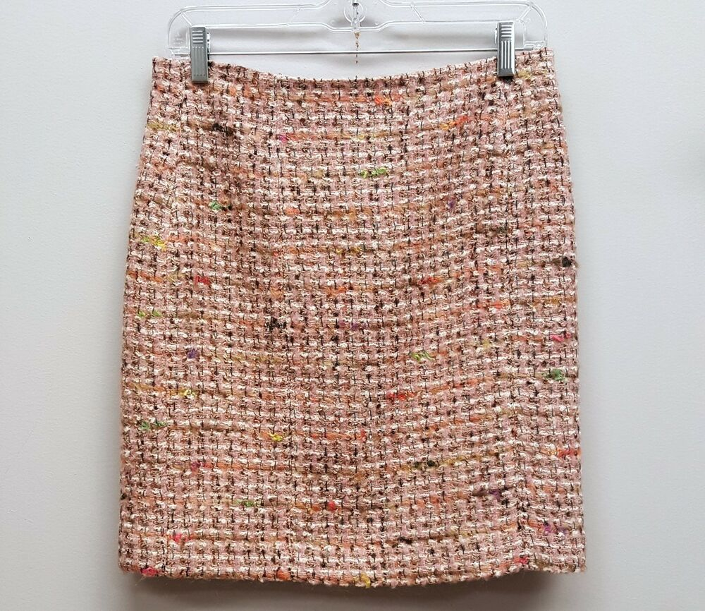 7993a9a45b Details about ANN TAYLOR Size 4 Pink Tweed Knee Length Pencil Skirt