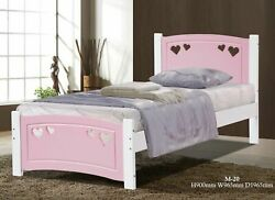 67b163a9b7e4 Madeline children's white & pink wood 3ft single bed frame - Love heart  design