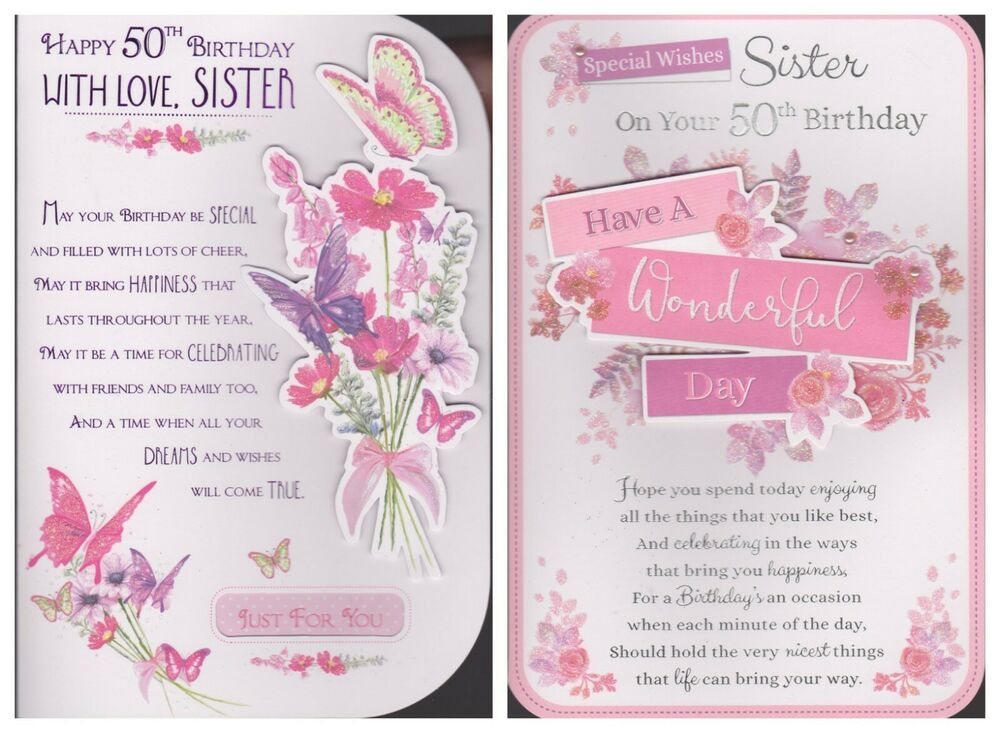 Sister 50th Birthday Card Happy With Love