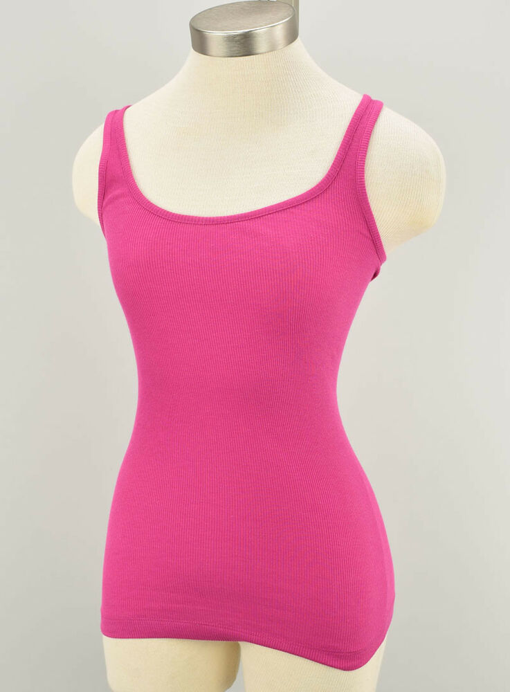 efb102bc0a9e9 Details about VINCE Cerise Pink Ribbed Scoop Neck Cotton Modal Tank Top  SMALL NWT