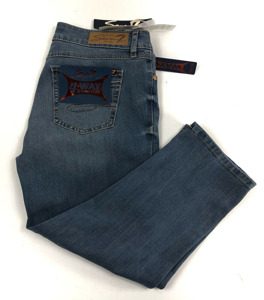 3970890b21a Details about New Seven Size 8 Skinny Jeans NWT Stretch Capris Crop Denim  Distressed Blue