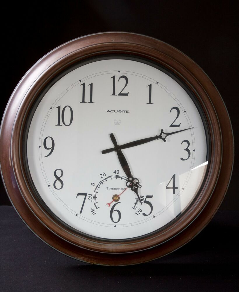 Details About Acurite 18 Aged Bronze Indoor Or Outdoor Clock With Thermometer