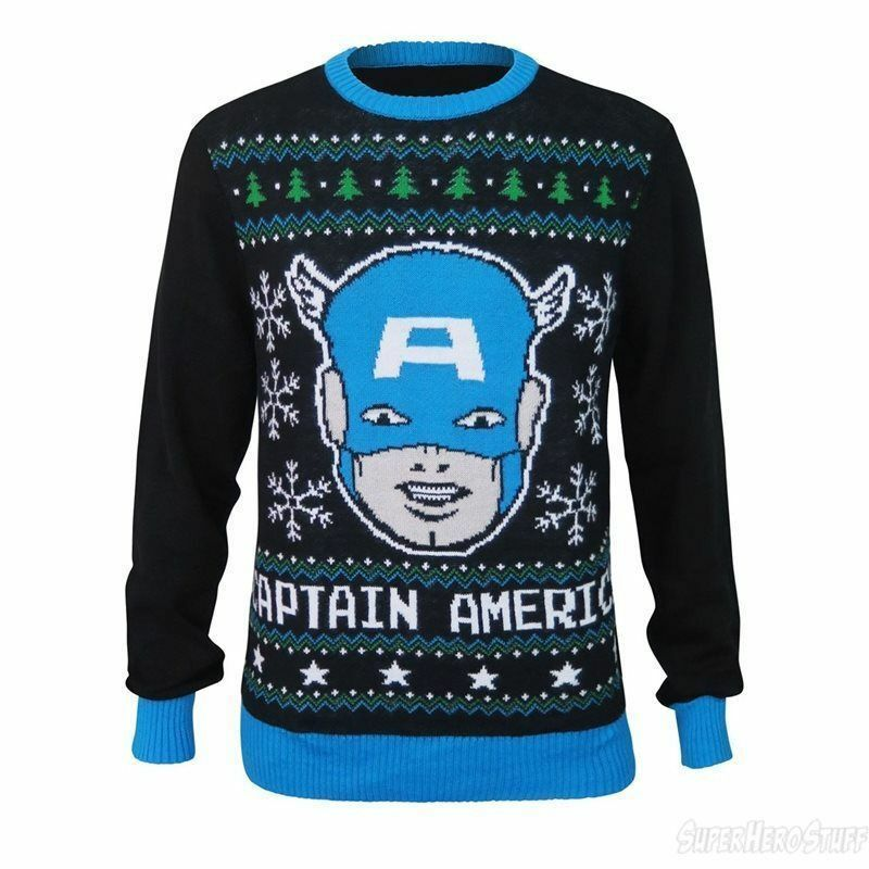 76b40a1a4696 Details about Captain America Ugly Christmas Sweater MENS Black Holiday  SIZE L Marvel Comics