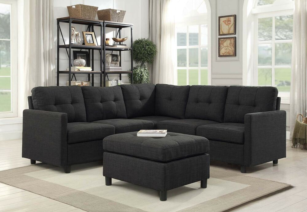 Details About Contemporary Sofa Set 4 5 Seat Modern Sectional Living Room Furniture Black