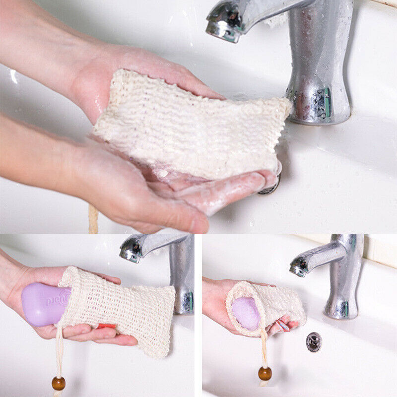 Bathroom Hardware Liquid Soap Dispensers 6 Pcs Natural Exfoliating Soap Bags Handmade Sisal Soap Bags Natural Sisal Soap Saver Pouch Holder Bath Soap Holder Bags Cheap Sales