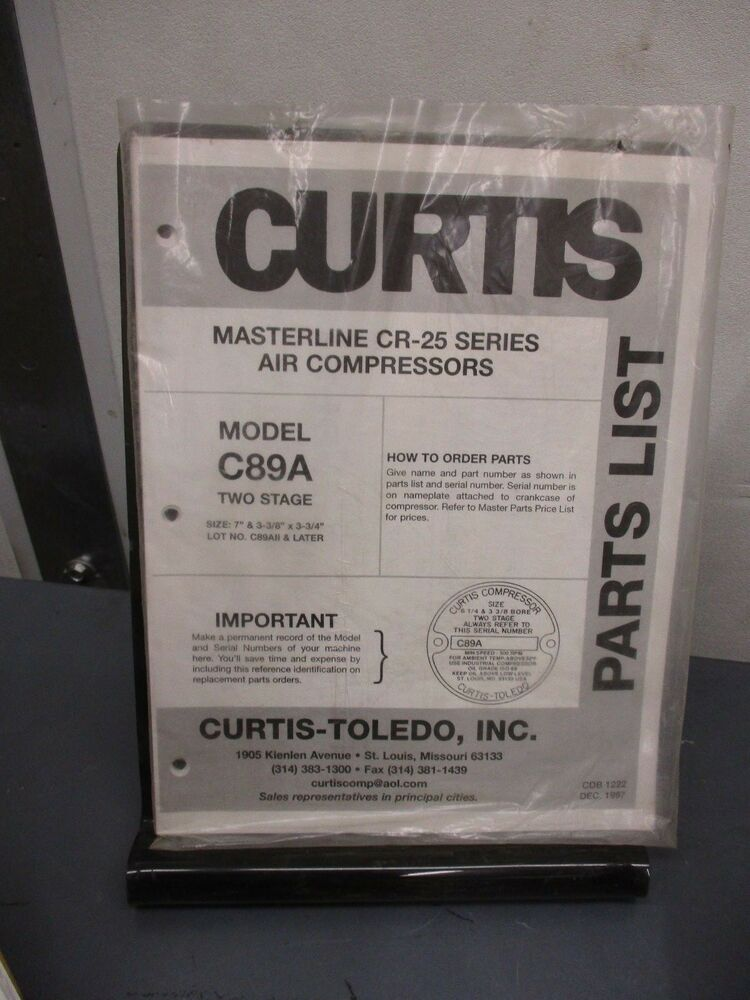 CURTIS Masterline CR-25 Series Air Compressors model C89A PART LIST | eBay