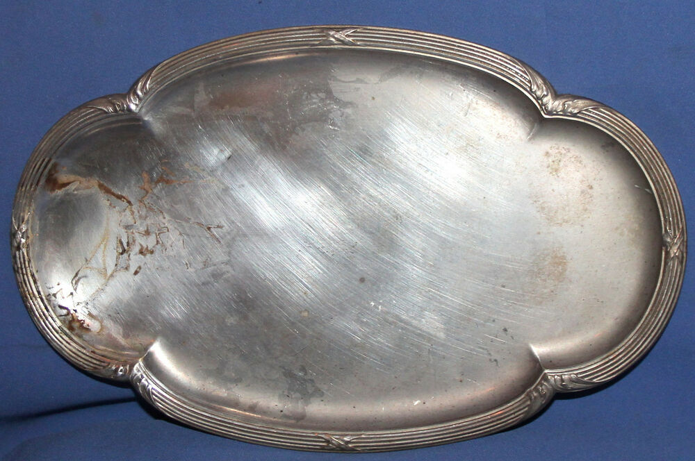 Details About Antique Silver Plated Serving Tray