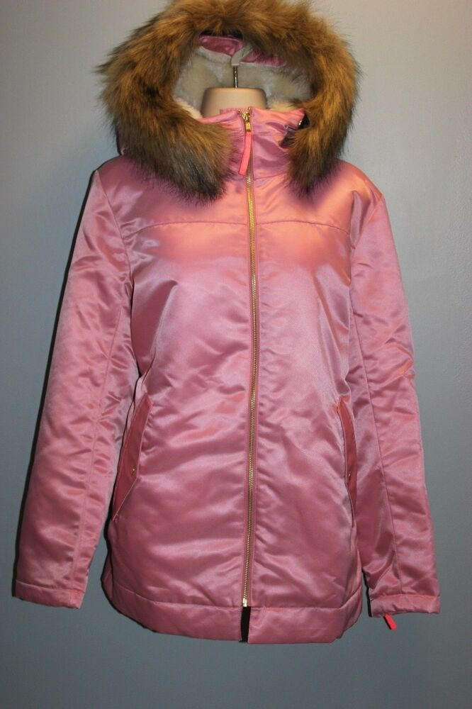 c61c680fb5e8 Details about NEW JCrew  298 Pink Parka With Guilted Lining Fur Hood Size L  Winter Coat H2223