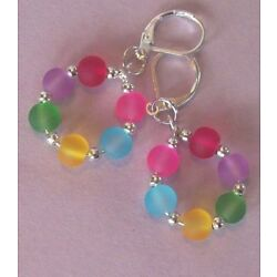 COLORFUL beach glass CRYSTAL earring HOOPS SP LEVERBACK handcrafted