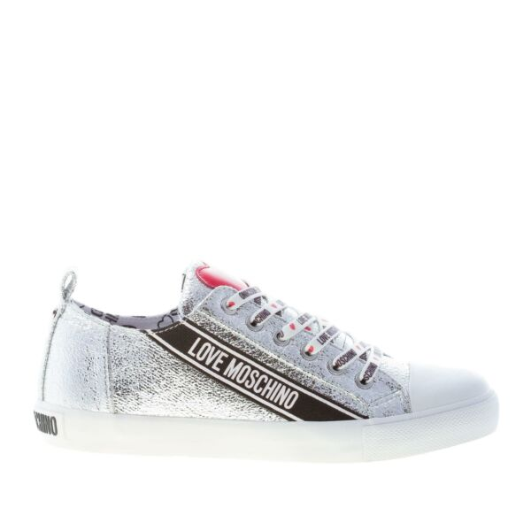 LOVE MOSCHINO women shoes Silver laminate leather low sneaker brand lettering