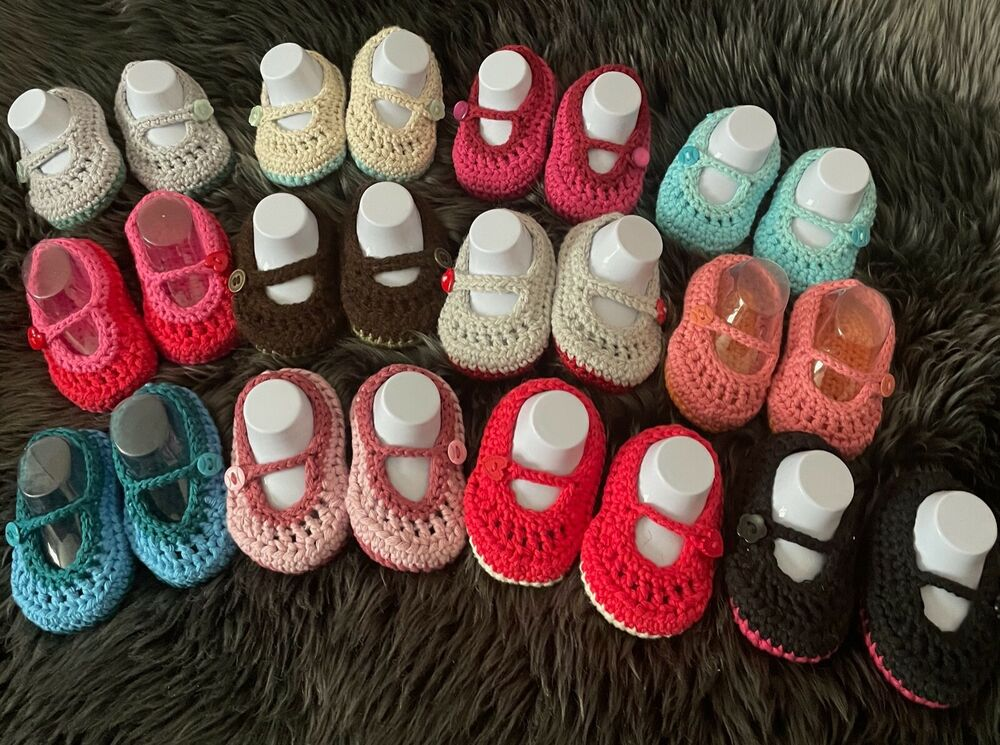 1bee022c1b8c5 Hand knitted /crochet baby button shoe/slippers, Mary Jane style, size 0-6  month | eBay