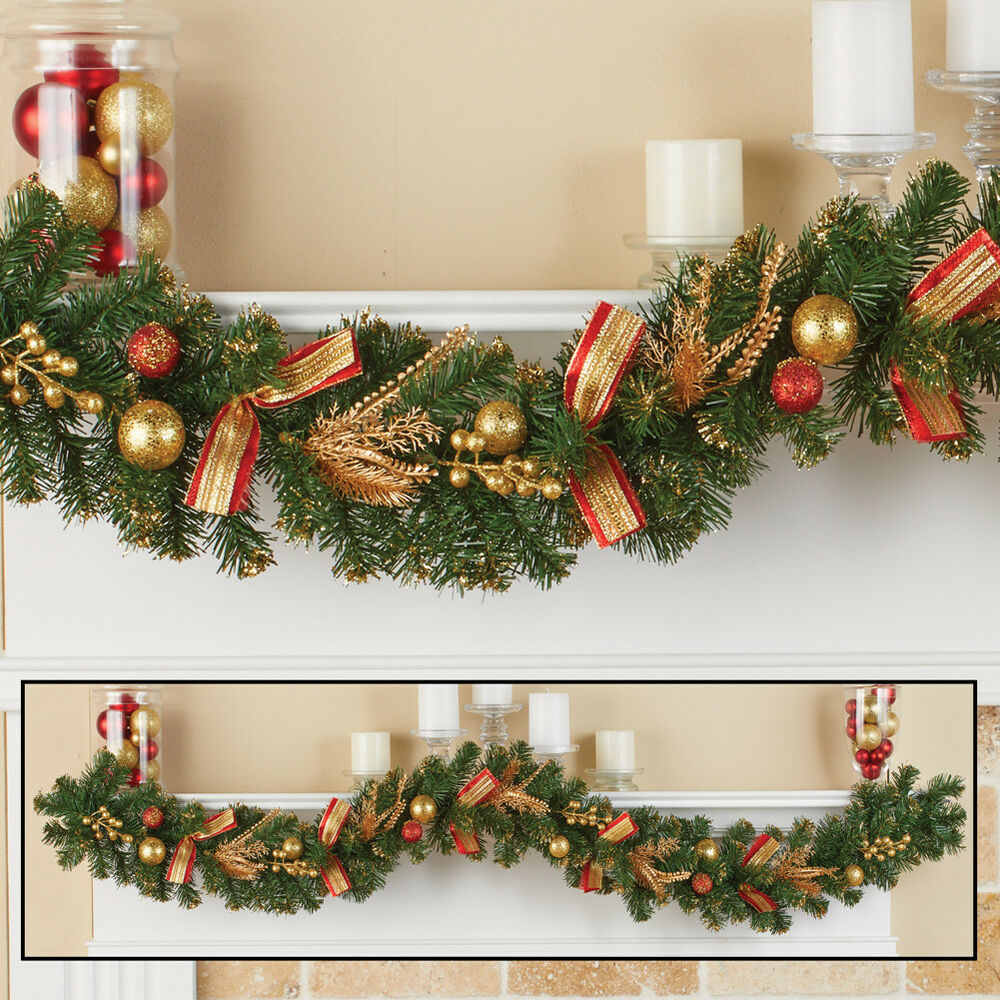 6 Foot Sparkling Red Gold Ornaments Evergreen Christmas Garland Ebay
