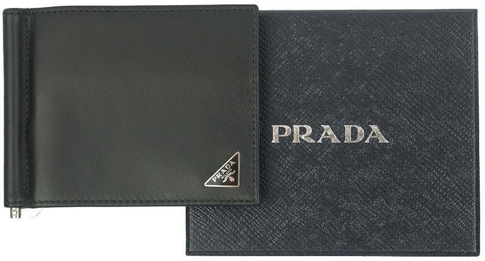 93a2885c1974b2 Details about NEW PRADA BLACK CALF LEATHER LOGO CREDIT CARD CASE MONEY CLIP  BI-FOLD WALLET