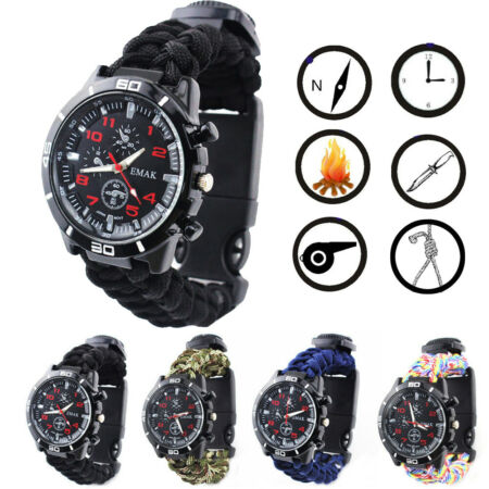 img-Camping Compass Bracelet kit Flint Knife Whistle Paracord Outdoor Survival Watch