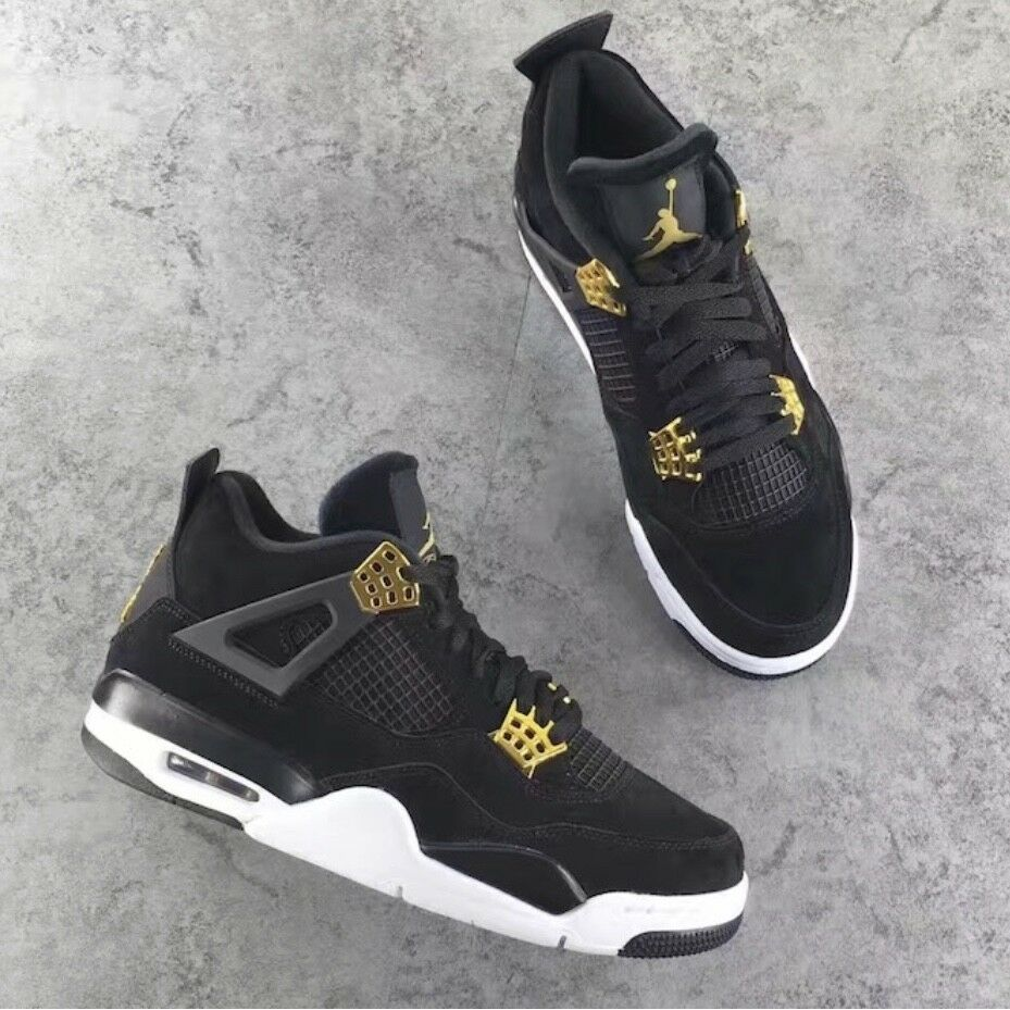 size 40 7cb2a c56fb Details about New Nike Air Jordan Retro 4 IV Royalty Black Gold Size YOUTH