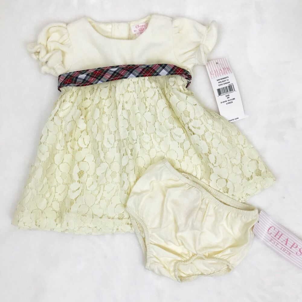 fa937743760 Details about Chaps Baby Girls Dress 3 Months Cream Ivory Velvet Lace Plaid  Ribbon Fancy Party