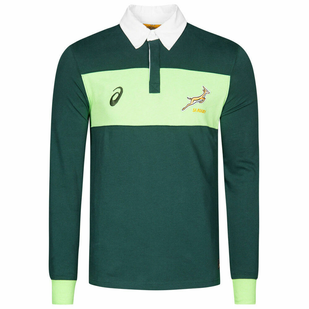 1d3cbb9eadd Details about Asics Mens South Africa Springboks Long Sleeve Rugby Shirt  Top New 122959SR M