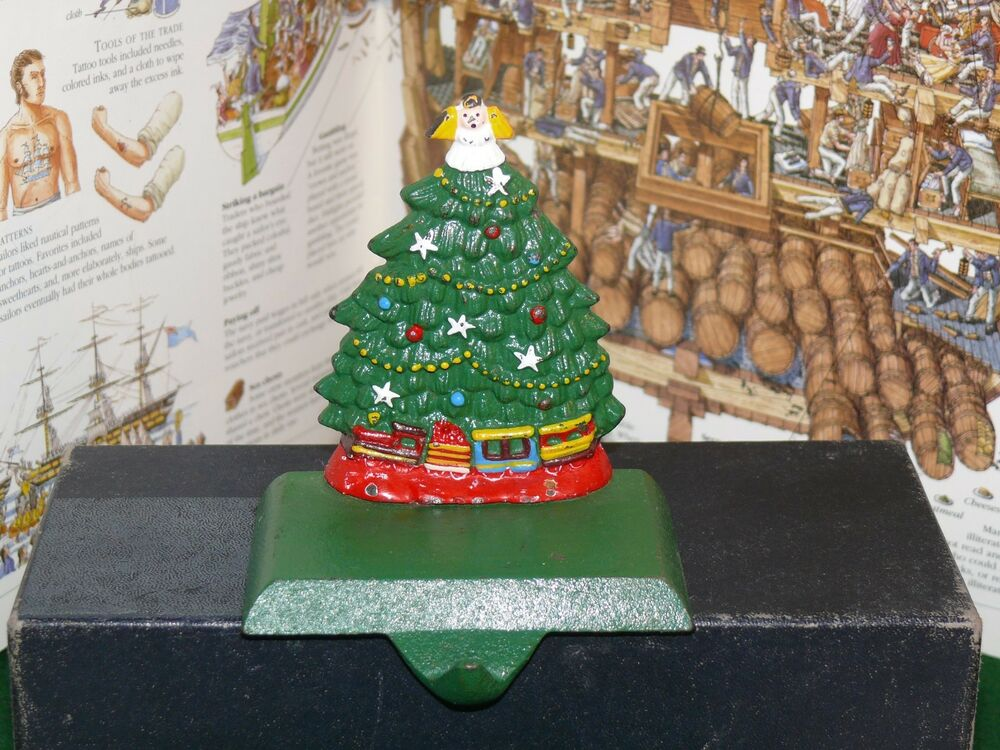 Vintage Cast Iron Christmas Tree Stocking Hanger Holder With Cast