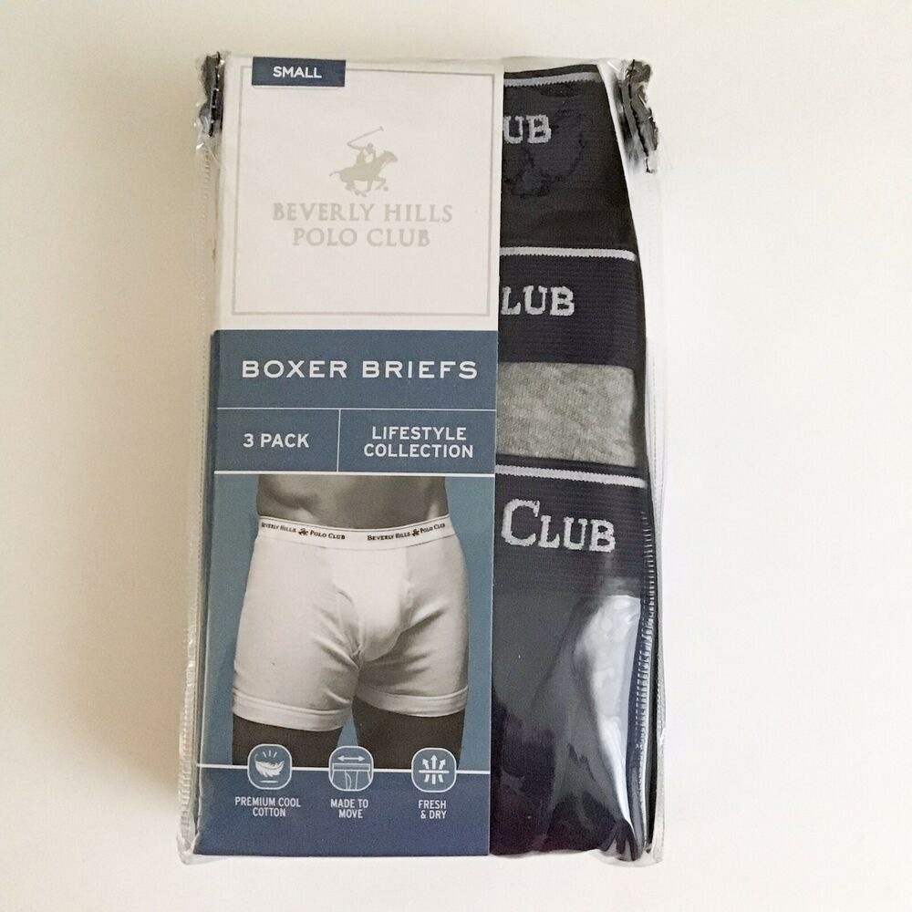 f7d72f49d7f4 Details about Beverly Hills Polo Club Mens Premium Boxer Briefs 3 Pack S  Small 28-30 Navy Gray
