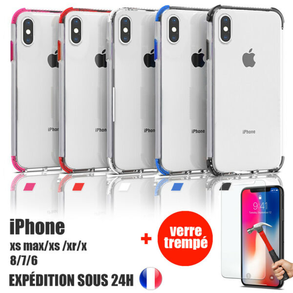 COQUE ANTI CHOC BUMPER + VITRE PROTECTION IPHONE X/XS/XR/XS MAX/8/7/6 Plus