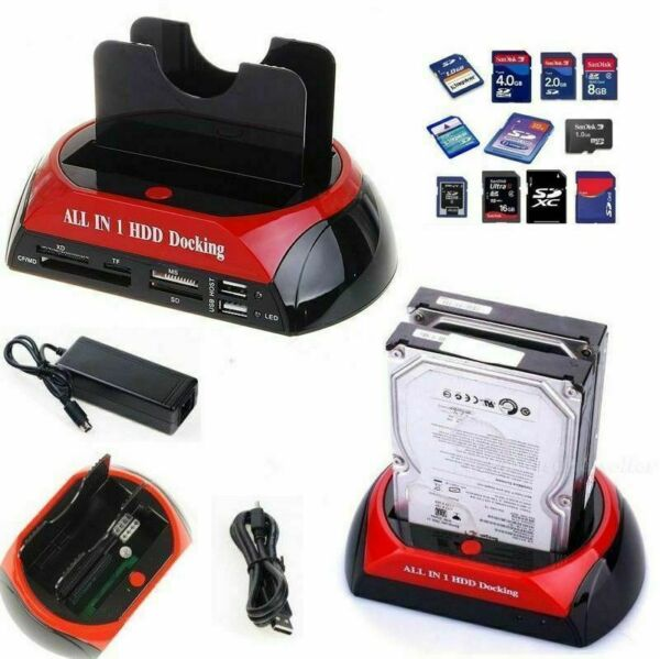NEW DOCKING STATION HDD HARD DISK 3,5 2,5 SATA IDE 2 HD HDD BOX CASE MINI USB SD