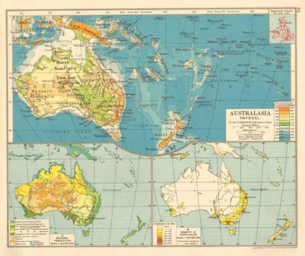 Australasia Physical 1930 Original Antique Colour Map