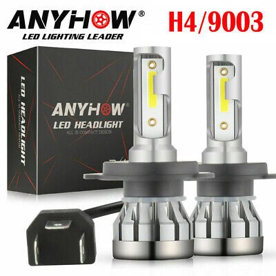 Pair Fanless H4 HB2 9003 2000W 300000LM LED Headlight Kit Hi/Lo Power Bulb 6000K